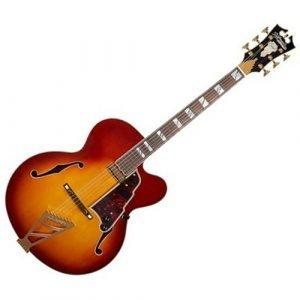 גיטרה ווליום D'Angelico EXL-1 ICED TEA BURST ARCHחלק עליון-floating